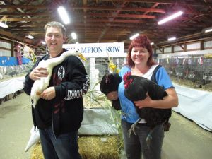 Carolyn and Geoff Wild with their winning birds